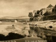 Braunauer Innlände mit der Brücke, um 1930