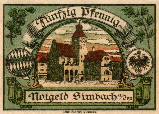 Das Rathaus auf einem Notgeld-Schein, um 1916
