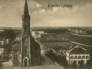 Pfarrkirche St. Marien mit Pfarrhof vom Rathaus aus aufgenommen, um 1913