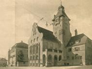 Ansicht des Rathauses von der Innstraße aus, um 1935
