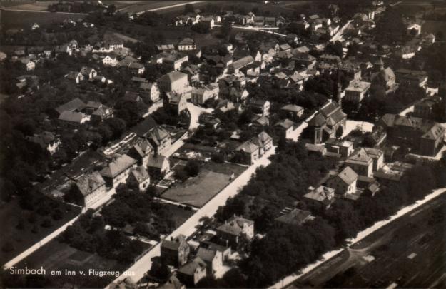 Simbach aus der Luft, in den 1930er Jahren