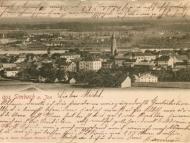 Ansichtskarte mit Gesamtaufnahme von Simbach in Richtung Braunau, um 1900