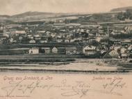 Ansichtskarte mit Gesamtaufnahme Simbachs von Süden um das Jahr 1903