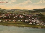 Ansichtskarte von Simbach mit Braunau und Alpenpanorama, um 1915