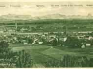 Ansicht von Simbach mit Braunau und Alpenpanorama, Anfang der 1920er Jahre