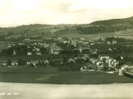 Gesamtansicht von Simbach vom Braunauer Kirchturm aus, Ende der 1920er Jahre