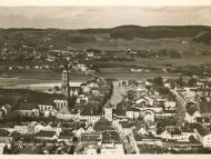 Fliegeraufnahme von Braunau in Richtung Simbach aufgenommen, 1939