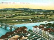 Das Simbacher Innufer mit beiden Brücken, um 1910