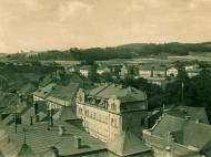 Blick vom Rathausturm zur Inn- und Lindenstraße, um 1940