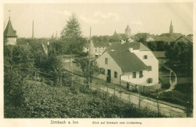 Blick auf die Lindenstraße vom Lindenberg aus, um 1915