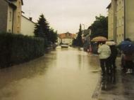 Simbach-Hochwasser in der Gartenstraße, 1991