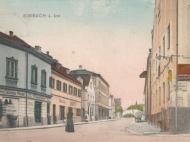 Die Münchner Straße vom Stachus aus, mit dem Geschäft von Martin Wiedemann (links)